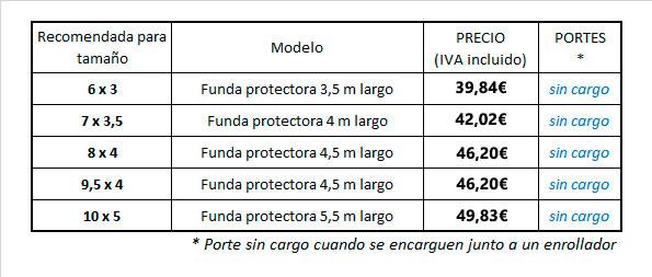 Tabla de precios de funda protectora de cobertor solar - Jumitoldo